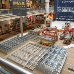 palisades mall facade framing being constructed
