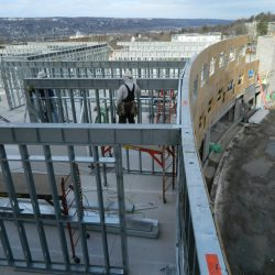 curved steel framing at collegetown terrace student housing