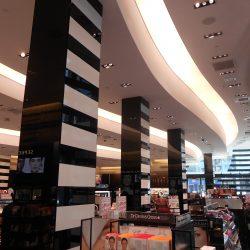 curved light gauge steel framing inside sephora cosmetics store