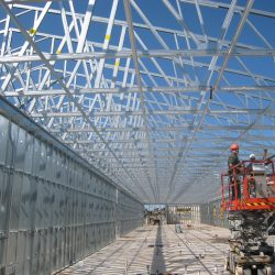 duraframe's light gauge steel trusses being installed in an army reserve