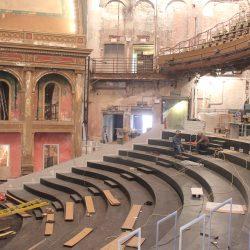 Concert hall under construction using duraframe steel auditorium framing