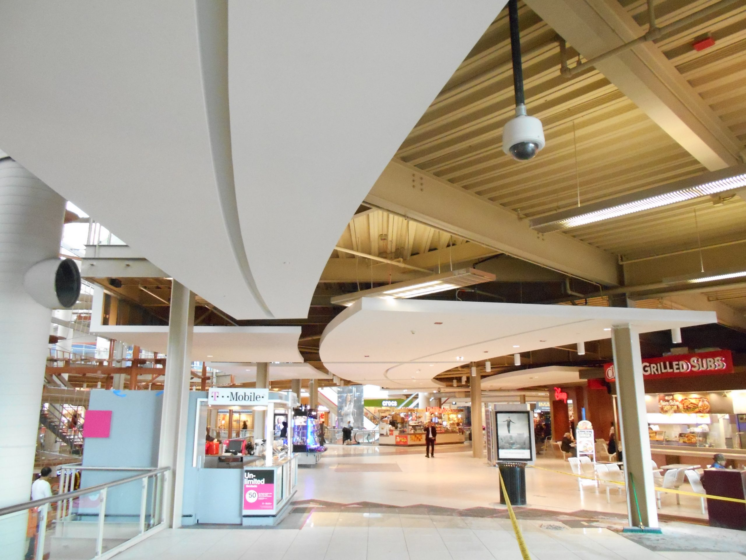 palisades mall curved ceiling clouds
