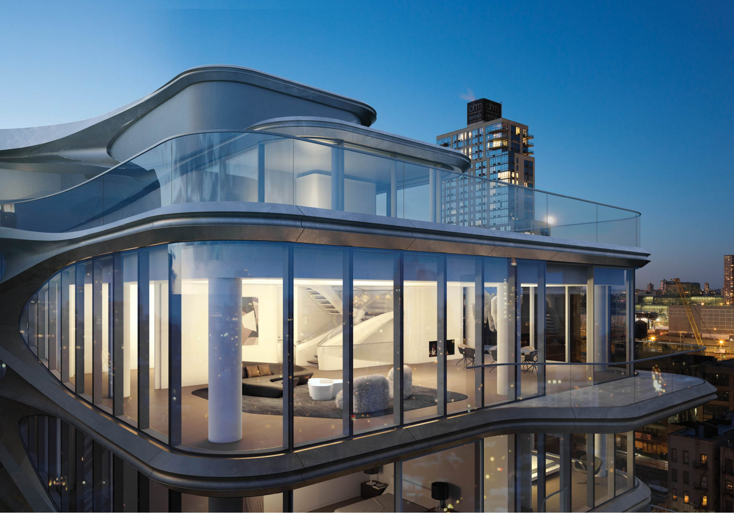 curved architecture on luxury penthouse in new york city