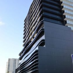 curved steel exterior framing