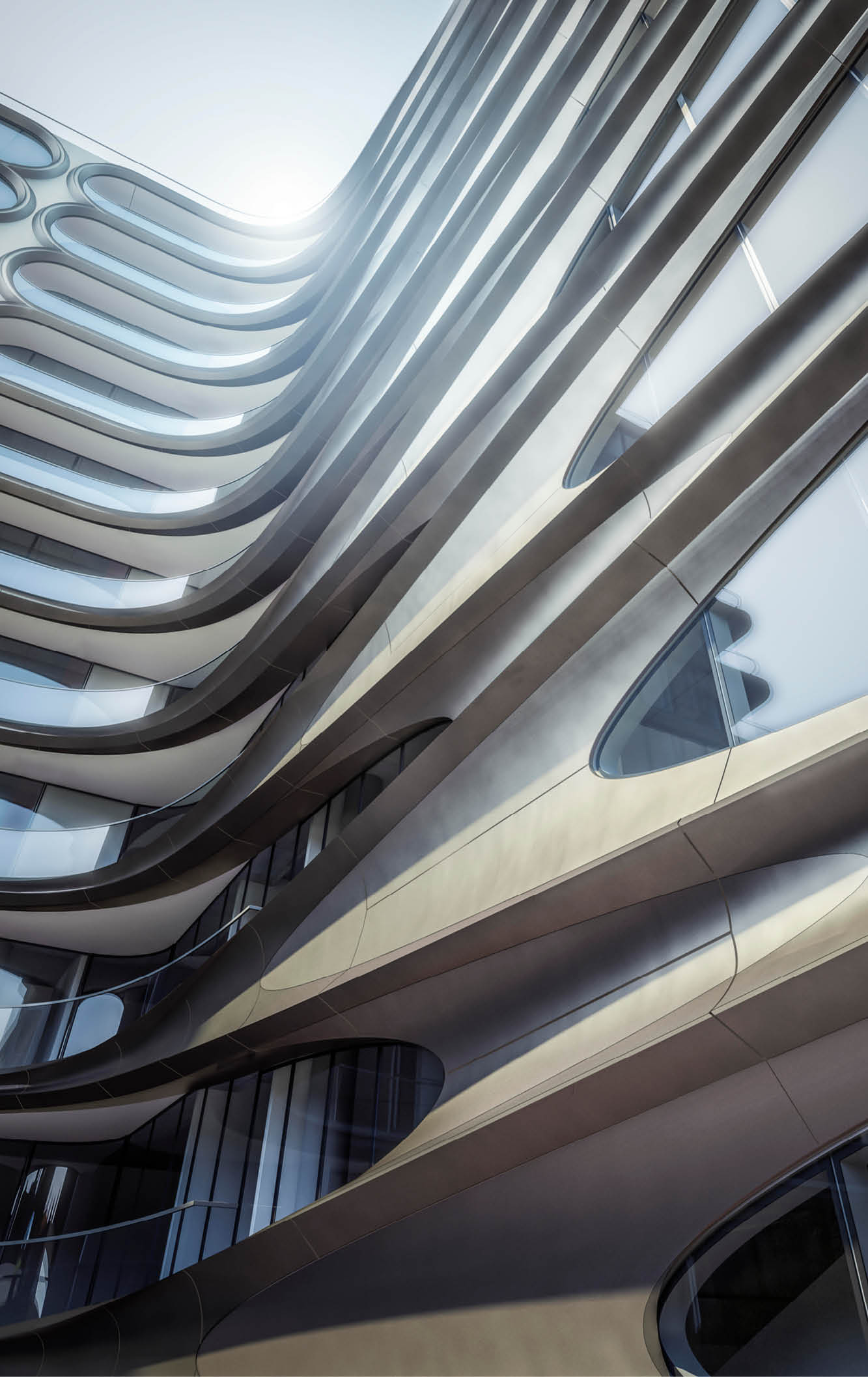 curved steel framing on luxury apartment complex in new york city