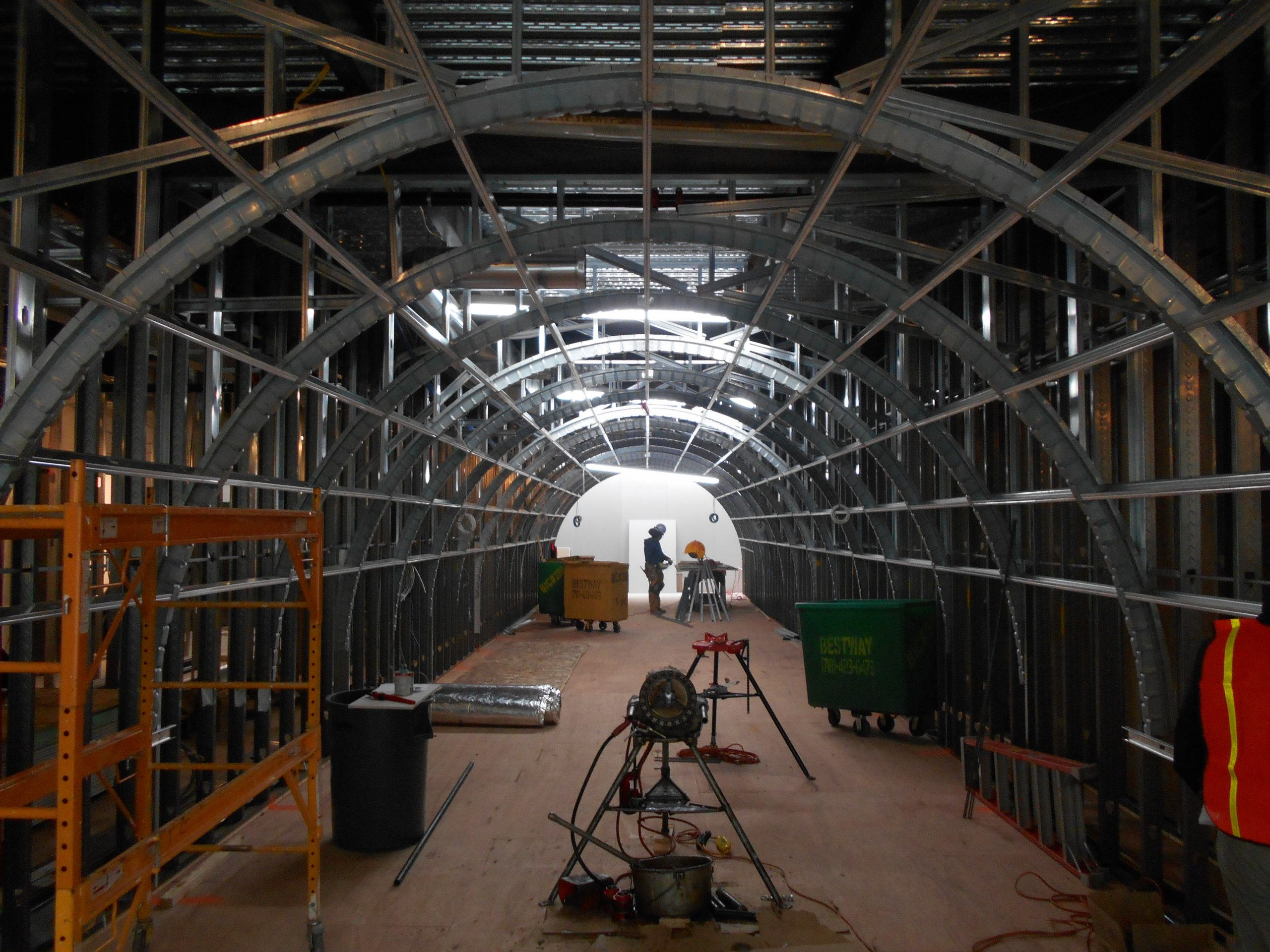 curved tunnel of light gauge steel framing