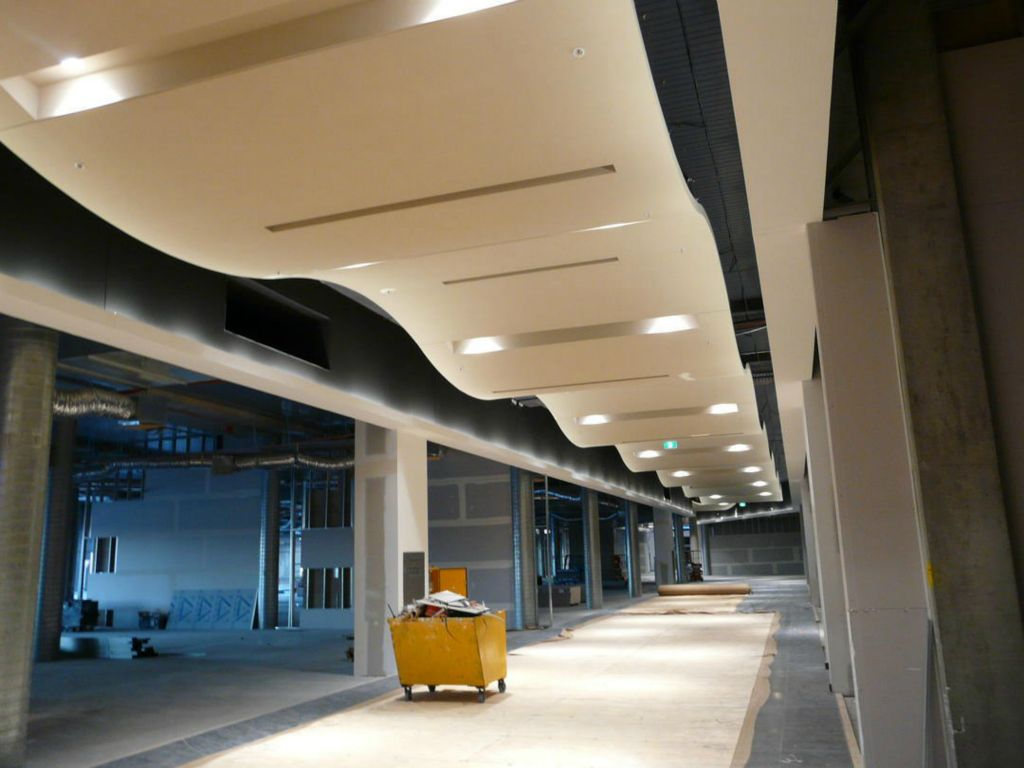 curved ceiling cloud prefabricated using light gauge metal and m534 hangers