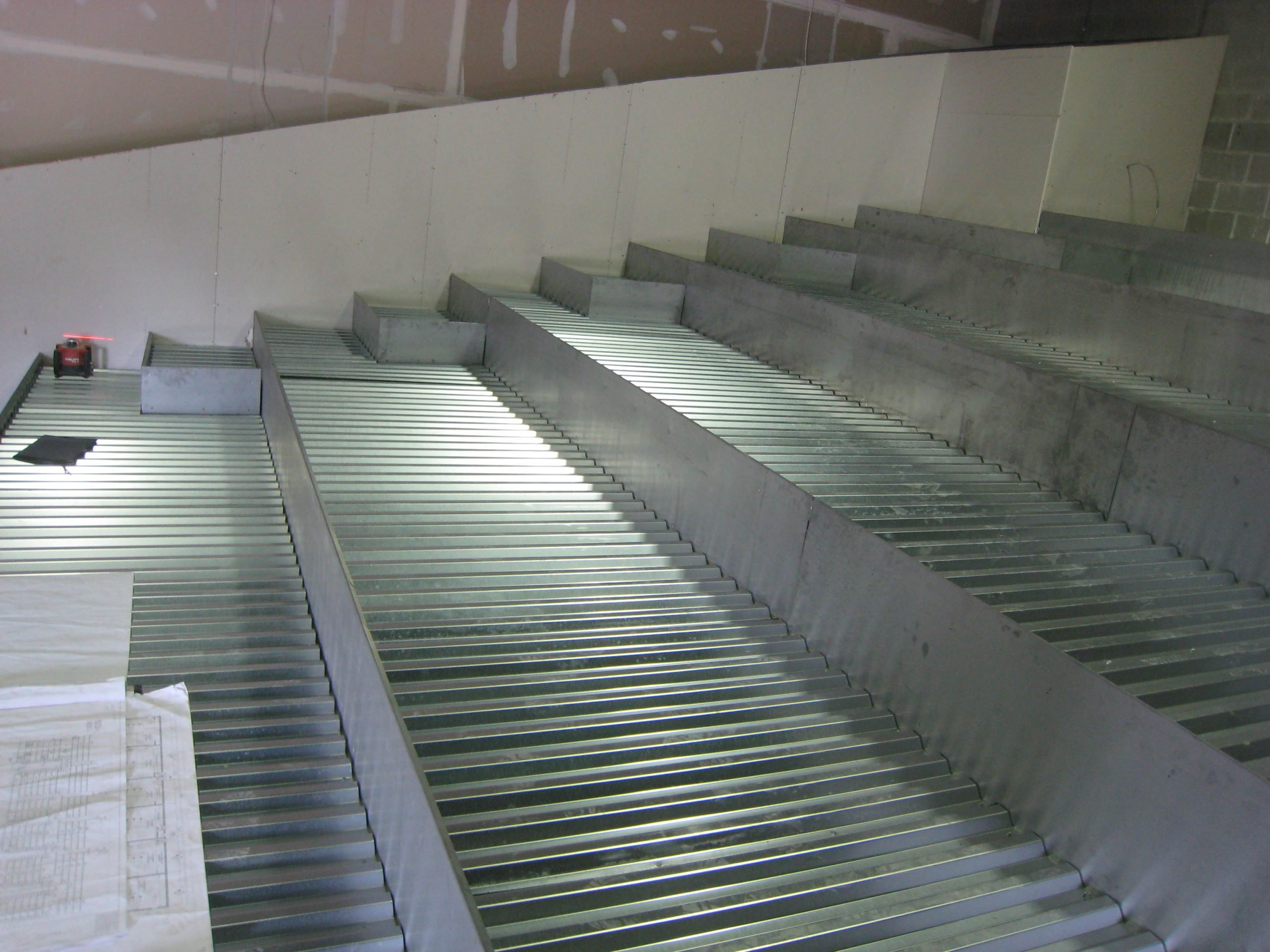 light gauge steel auditorium and seat framing