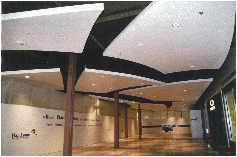 light gauge steel framed ceiling clouds inside walden galleria in cheektowaga, new york