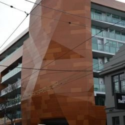 modern steel framed facade