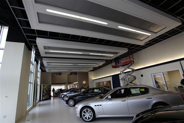 steel framed ceiling clouds at a new england ferrari dealership