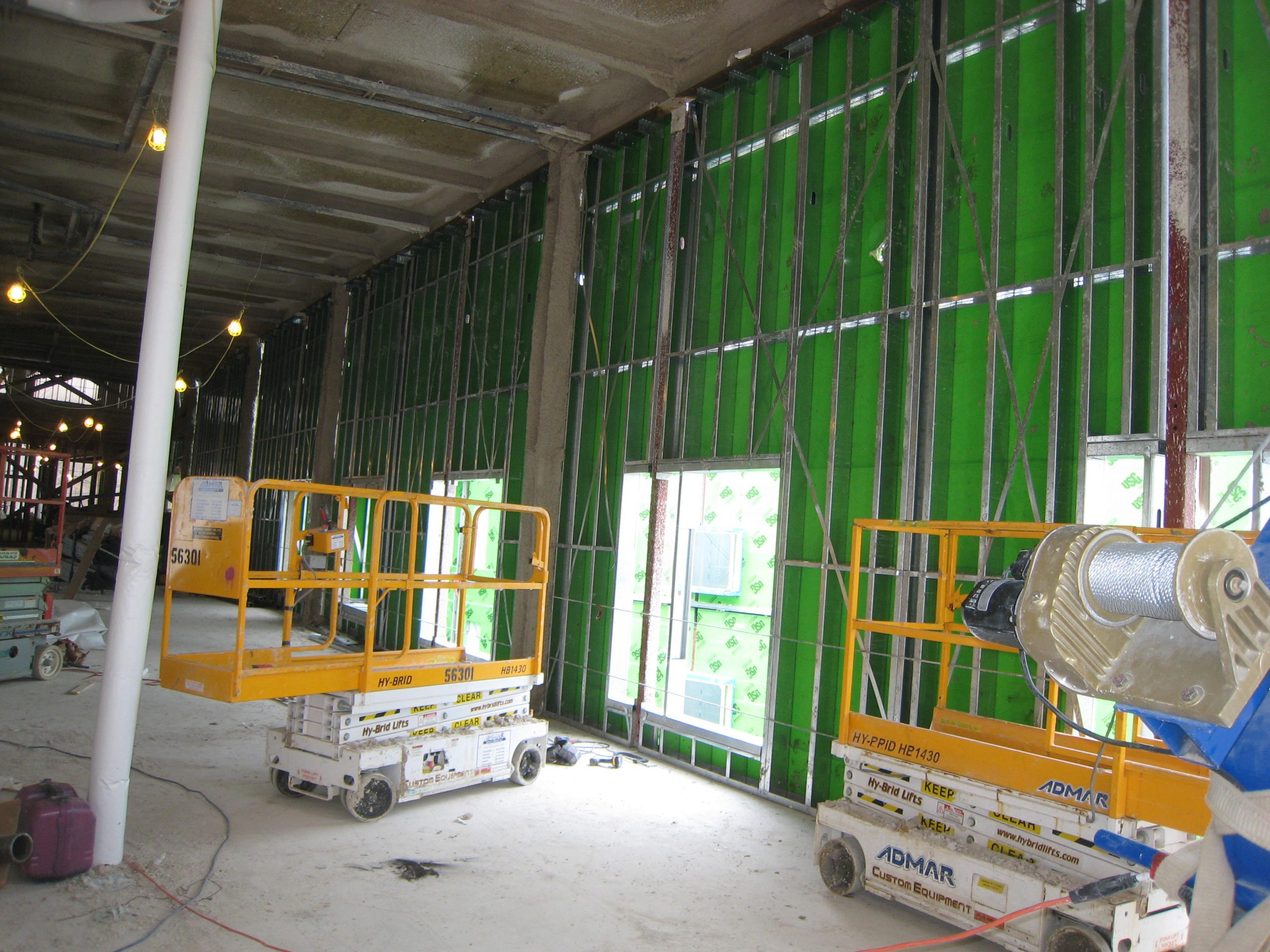 view of light gauge steel framing from the interior