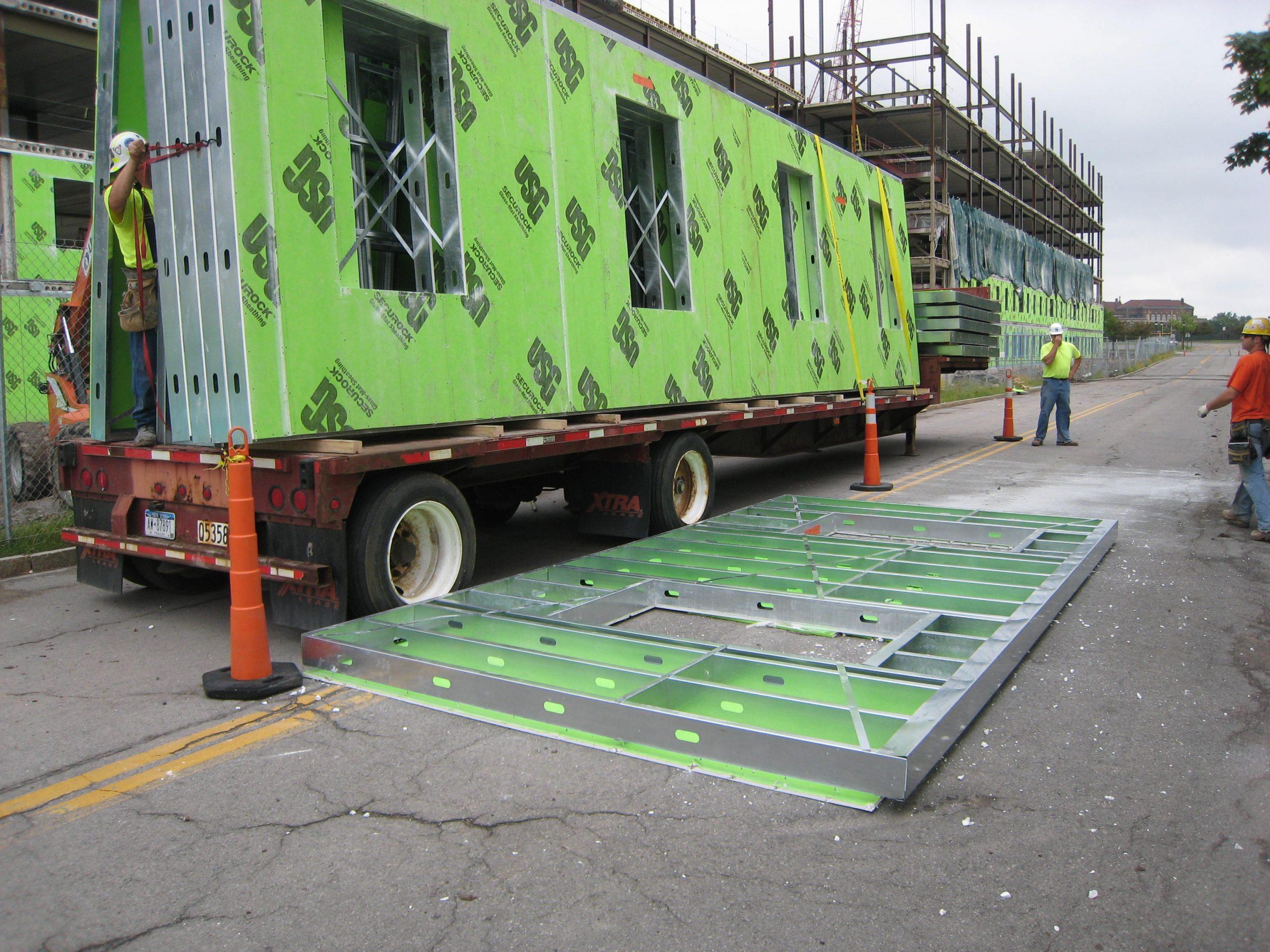 light gauge steel wall panels on a truck