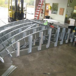 radiused steel canopy for med express urgent care center