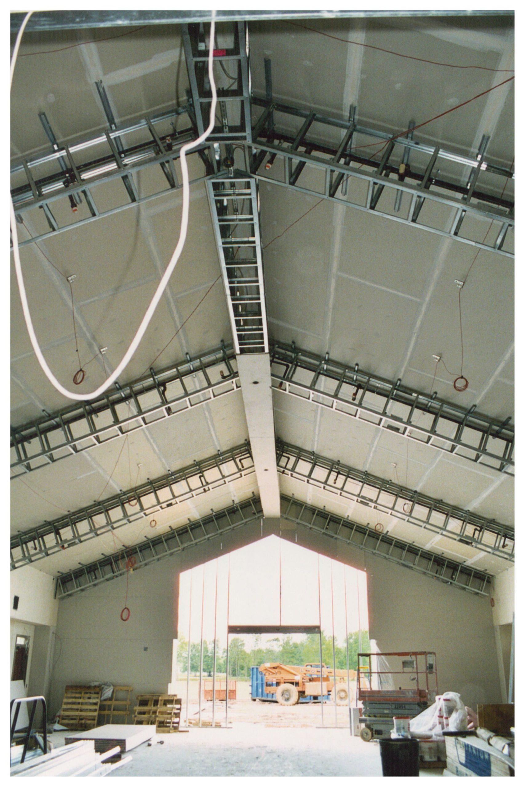 light gauge steel trusses for first bible baptist church