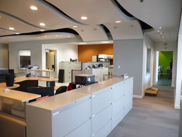 modern office with ceiling clouds